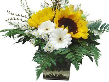 bon de commande bouquet rond vase tournesols gerberas. Black Bedroom Furniture Sets. Home Design Ideas